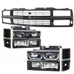 1998 Chevy 3500 Pickup Black Grille and LED DRL Headlights Set
