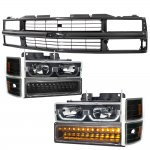 Chevy 1500 Pickup 1994-1998 Black Replacement Grille and LED DRL Headlights Bumper Lights