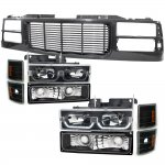 1997 Chevy 1500 Pickup Black Wave Grille and LED DRL Headlights Set