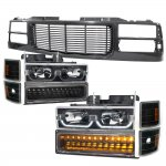 1997 GMC Sierra Black Wave Grille and LED DRL Headlights Bumper Lights