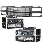 1998 Chevy Silverado Black Billet Grille and LED DRL Headlights Set