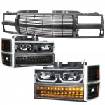 Chevy 1500 Pickup 1994-1998 Black Billet Grille and LED DRL Headlights Bumper Lights