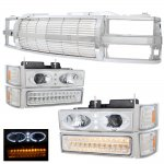 1995 Chevy Silverado Chrome Billet Grille and Halo Projector Headlights LED Bumper Lights