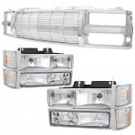 GMC Suburban 1994-1999 Chrome Billet Grille and Headlights Set