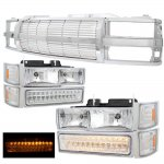 GMC Sierra 1994-1998 Chrome Billet Grille and Headlights LED Bumper Lights
