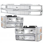 1998 Chevy 3500 Pickup Chrome Grille and Euro Headlights Set