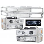 1998 Chevy Tahoe Chrome Grille and Halo Headlights Set