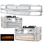 1998 Chevy 3500 Pickup Chrome Grille and Headlights LED Bumper Lights