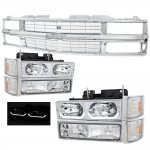 1998 Chevy 3500 Pickup Chrome Grille and LED DRL Headlights Set