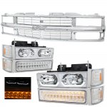 1998 Chevy 3500 Pickup Chrome Grille and LED DRL Headlights Bumper Lights