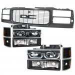1999 GMC Yukon Black Grille and LED DRL Headlights Set