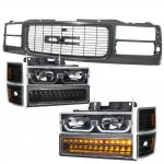 GMC Sierra 1994-1998 Black Grille and LED DRL Headlights Bumper Lights