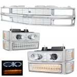 1995 Chevy Silverado Chrome Grille and Halo Projector Headlights LED Bumper Lights