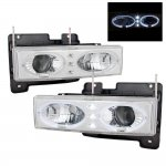 1997 Chevy 1500 Pickup Clear Dual Halo Projector Headlights with LED