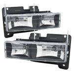 1990 Chevy 3500 Pickup Black Euro Headlights