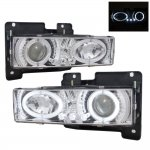 1990 Chevy 3500 Pickup Clear Projector Headlights with Halo and LED
