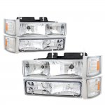 1998 Chevy 3500 Pickup Clear Euro Headlights and Bumper Lights Set