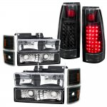 1998 GMC Sierra 2500 Black Headlights and LED Tail Lights