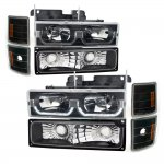 1998 Chevy 3500 Pickup Black LED DRL Headlights and Bumper Lights