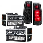 1998 Chevy 3500 Pickup Black LED DRL Headlights and LED Tail Lights