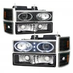 1997 Chevy 1500 Pickup Black Dual Angel Eyes Halo Projector Headlights Set