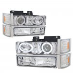 1998 GMC Sierra 2500 Clear Halo Headlights and Bumper Lights