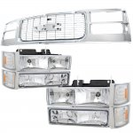 1997 GMC Sierra Chrome Grille and Headlights Set