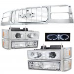 1997 GMC Sierra Chrome Grille and Halo Projector Headlights Set