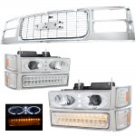 1997 GMC Sierra Chrome Grille and Halo Projector Headlights LED Bumper Lights