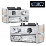 Chevy 2500 Pickup 1994-1998 Chrome Halo Projector Headlights and Bumper Lights