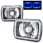 Jeep Wagoneer 1979-1984 Blue Halo Black Chrome Sealed Beam Headlight Conversion