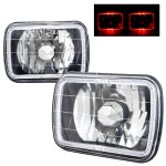 VW Rabbit 1979-1984 Red Halo Black Chrome Sealed Beam Headlight Conversion