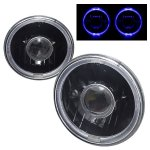 1967 Chevy C10 Pickup Blue Halo Black Sealed Beam Projector Headlight Conversion