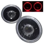2002 Jeep Wrangler Red Halo Black Sealed Beam Projector Headlight Conversion