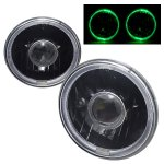 2002 Jeep Wrangler Green Halo Black Sealed Beam Projector Headlight Conversion