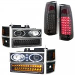 1997 Chevy 1500 Pickup Black Halo Headlights LED DRL and Smoked LED Tail Lights