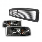 1997 Dodge Ram Black Billet Grille and Euro Headlights Set