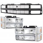 1998 Chevy 3500 Pickup Black Grille and Clear Headlights Set