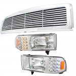 2001 Dodge Ram 2500 Chrome Grille and Headlights with LED Corner Lights