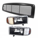 2001 Dodge Ram 2500 Black Grille and Headlights with LED Corner Lights