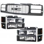 GMC Sierra 1994-1998 Black Grille and Headlights Set