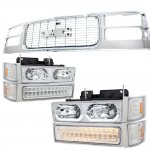 GMC Suburban 1994-1999 Chrome Grille and LED DRL Headlights Bumper Lights