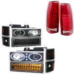 1998 Chevy Silverado Black Halo Headlights LED DRL and LED Tail Lights Red Clear