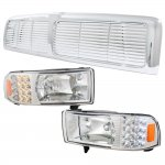 1996 Dodge Ram Chrome Bar Grille and Headlights with LED Corner Lights
