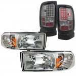 2001 Dodge Ram 2500 Clear Headlights and Smoked LED Tail Lights
