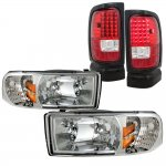 Dodge Ram 1994-2001 Clear Headlights and LED Tail Lights Red Clear