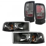 Dodge Ram 1994-2001 Black Headlights and Smoked LED Tail Lights