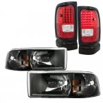 Dodge Ram 1994-2001 Black Headlights and LED Tail Lights Red Clear