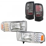 Dodge Ram 3500 1994-2002 Clear Headlights with LED Corner Lights and Smoked LED Tail Lights