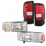 Dodge Ram 3500 1994-2002 Clear Headlights with LED Corner Lights and LED Tail Lights Red Clear